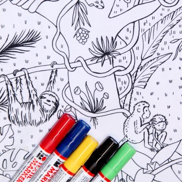 """BIO-Bomuldsjersey du kan tegne på """"Dschungel""""..."""