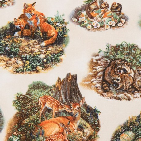 "Bomuld ""Woodland families cream"" by Amy Brackenbury"