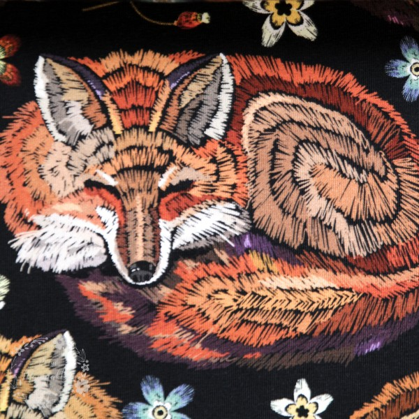 "Bomuldsjersey ""Embroidered fox"""
