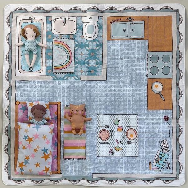 "100 cm Bomuld-Panel ""Spieldecke Puppenstube"" fra Susalabim"
