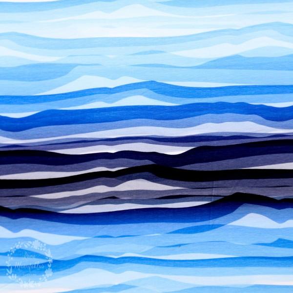 "Bomuldsjersey ""Wavy Stripes"" by Lycklig Design"