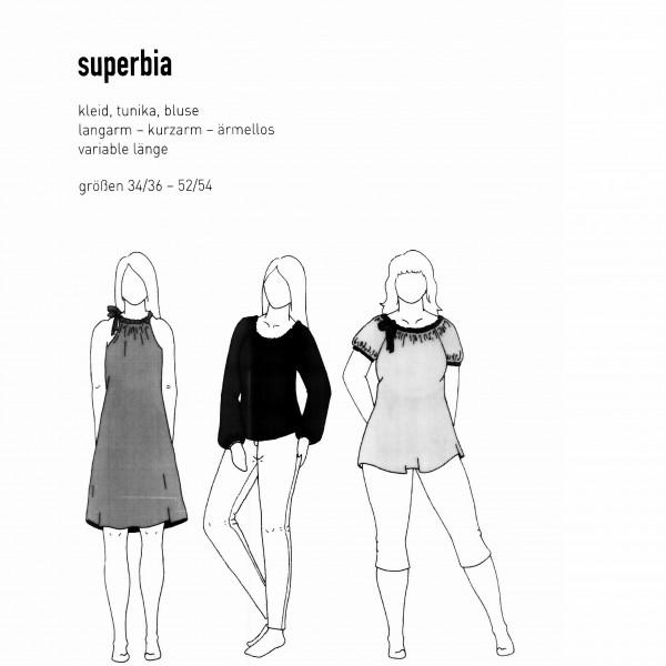 """Snitmønster Dame-Tunika """"Superbia"""" str 34/36 - 52/54"""