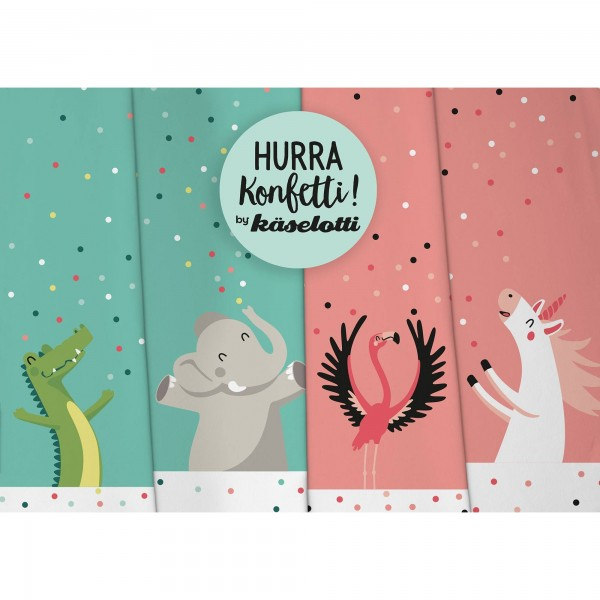 "Bomuldsjersey Panel ""Hurra Konfetti Enhjørning & Flamingo"" by Käselotti"