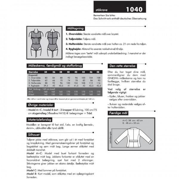 "Snitmønster Onion 1040 ""Jakker med ståkrave"" str 34 - 48"