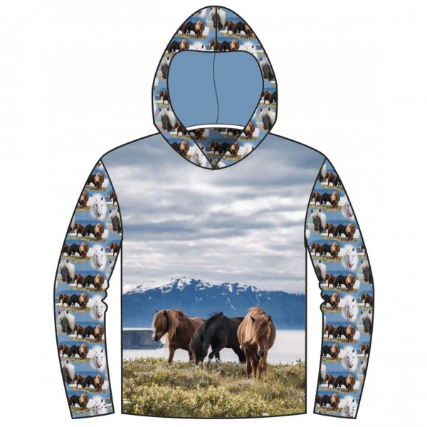"""75 cm French Terry-Panel """"Vilde heste"""" fra Stenzo"""