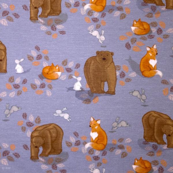 """Bomuldsjersey """"Fox, bjørn og kanin"""""""