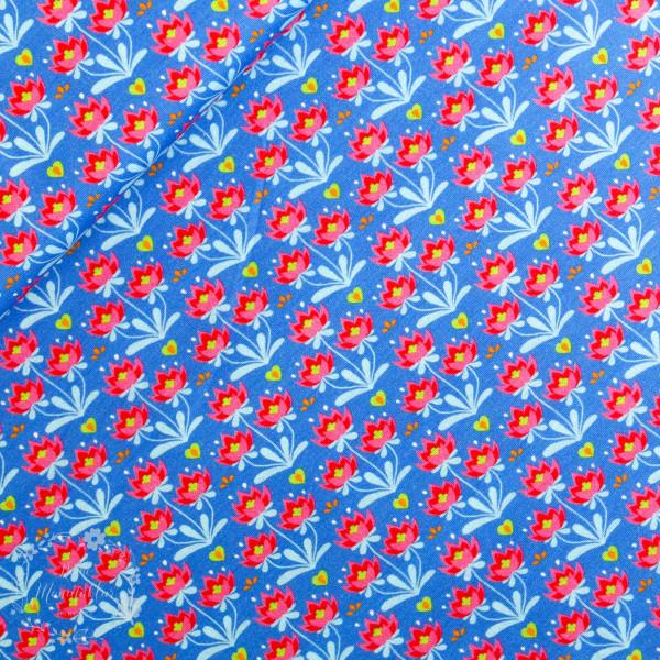 Bomuldsjersey Flora Buket blå