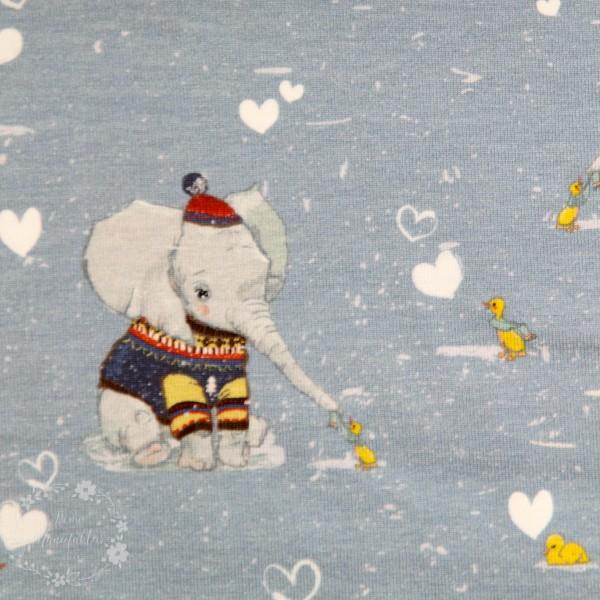 """Bomuldsjersey """"Vinter elefant"""" fra Fräulein von Julie"""