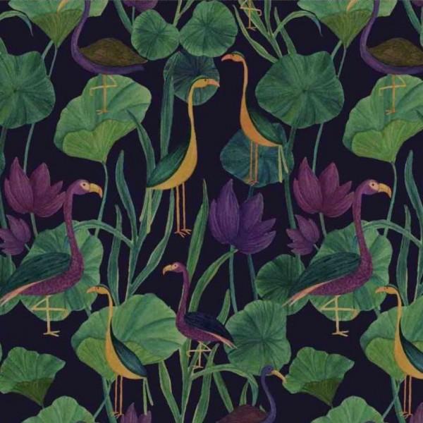 "Designer Bomuldsjersey ""Tropical birds"""