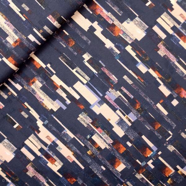 "Bomulds-Jersey ""Suri"" striber abstract blå"