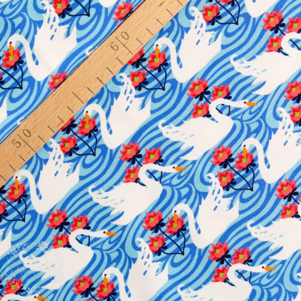 Bomuldsjersey Flora Svane blå