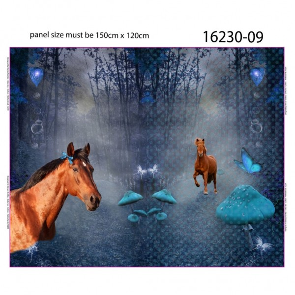 """120 cm French Terry-Panel """"Vinter heste"""" fra Stenzo"""