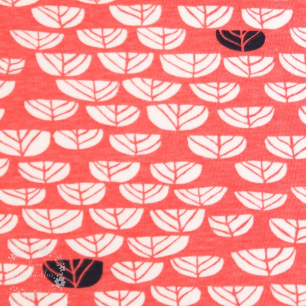 "BIO-Interlock-Bomuldsjersey ""Hidden Garden - kmi17cor"" fra Birch Fabrics"