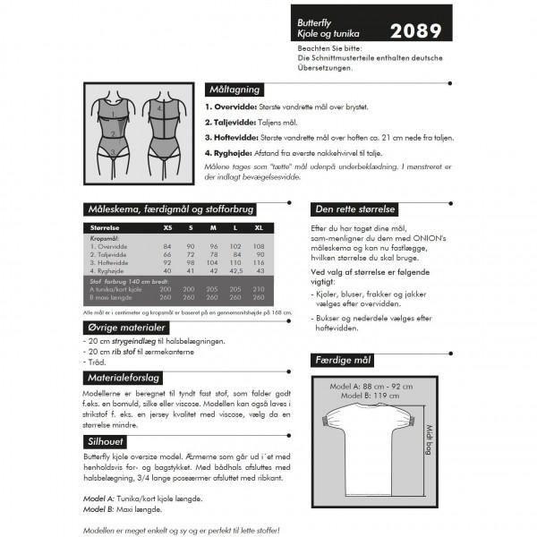 """Snitmønster Onion 2089 """"Butterfly kjole og tunika"""" str XS - XL"""