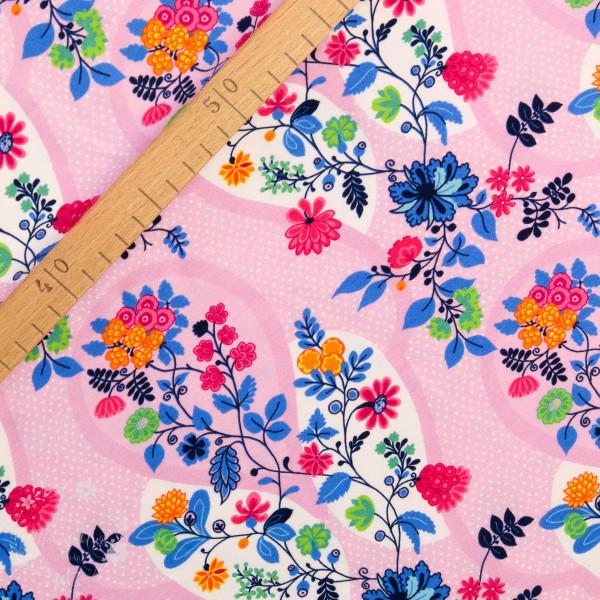 Bomuldsjersey Flora Blomsterdråber pink