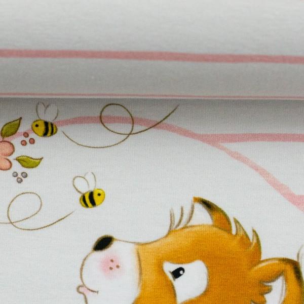 "65 cm Jersey Panel ""Fuchsgeschwister lyserød"" by Birgit Boley"