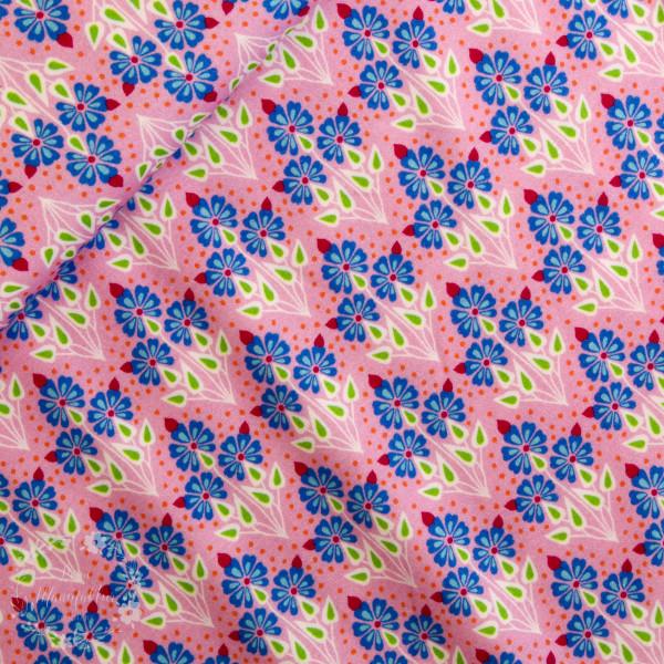 Bomuldsjersey Flora Buket pink