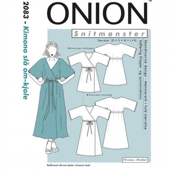 """Snitmønster Onion 2083 """"Kimono slå om - kjole"""" str XS - XL"""