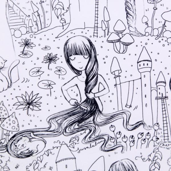 """BIO-Bomuldsjersey du kan tegne på """"Rapunzel"""" by susalabim"""