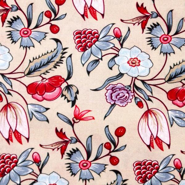 Bomuld natur med blomster fra eyelike fabrics