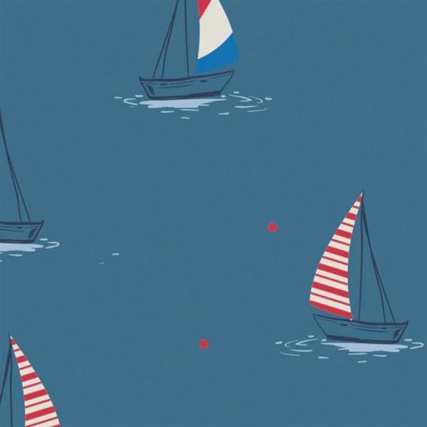 """Bomuldsjersey """"Sejlbåde"""""""