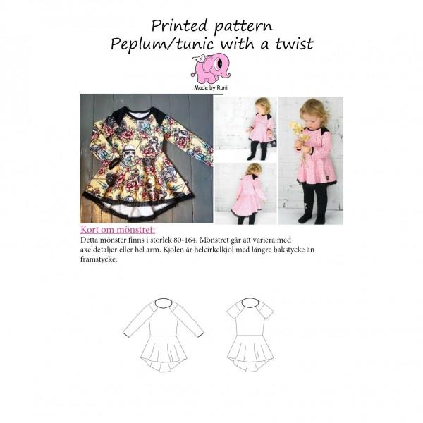 """Snitmønster til børn """"Peplum / tunic with a..."""