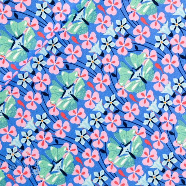"""Bomuldsjersey """"Flora Sommerfugl"""" blå"""