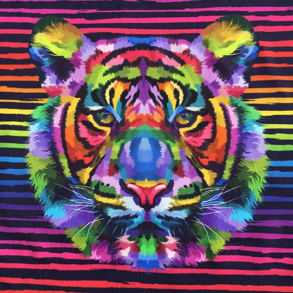 "100 cm Jersey-Panel ""Rainbow Tiger"""