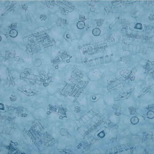 "Bomuld ""From the Farm"" Toile Blue"