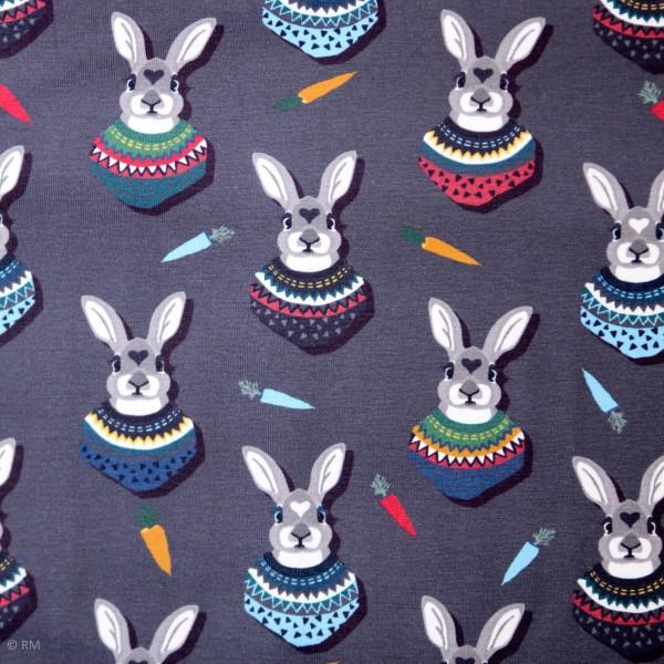 "Bomuldsjersey ""Autumn Bunny"" grå"