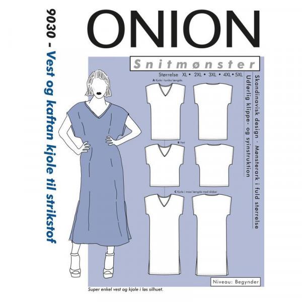 """Snitmønster Onion 9030 """"Vest og kaftan kjole..."""