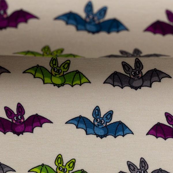 """Halloween-Bomuldsjersey """"Happy Monsters"""" Flagermus by Birgit Boley"""