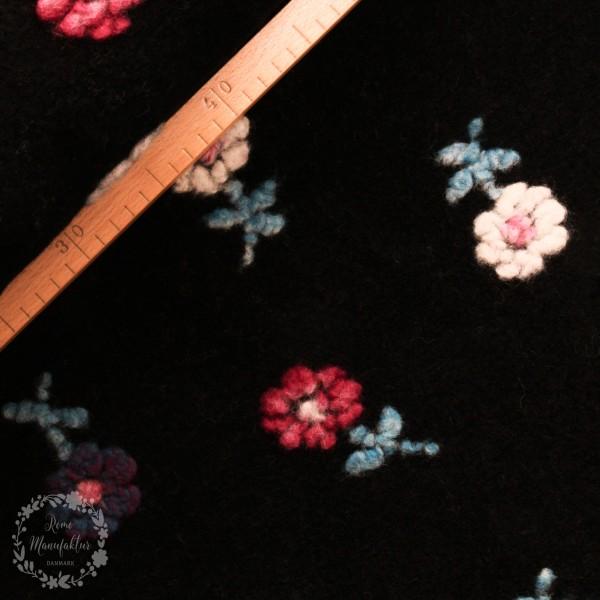 """Uld """"Felicitas"""" mørkeblå med blomster"""