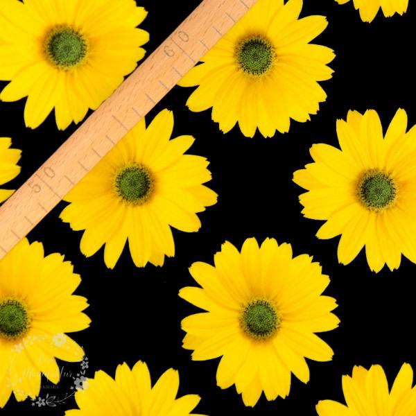 Bomuldsjersey sort med gule blomster