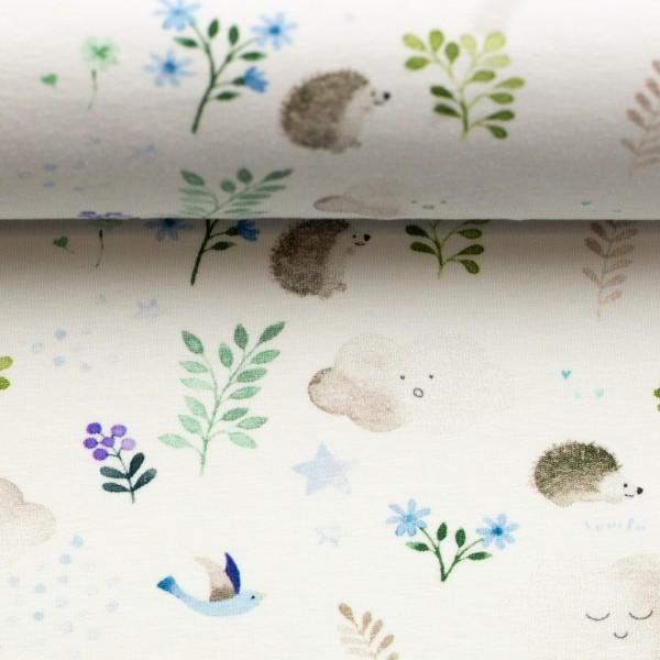"""Bomuldsjersey """"Little Spring"""" garden blå"""