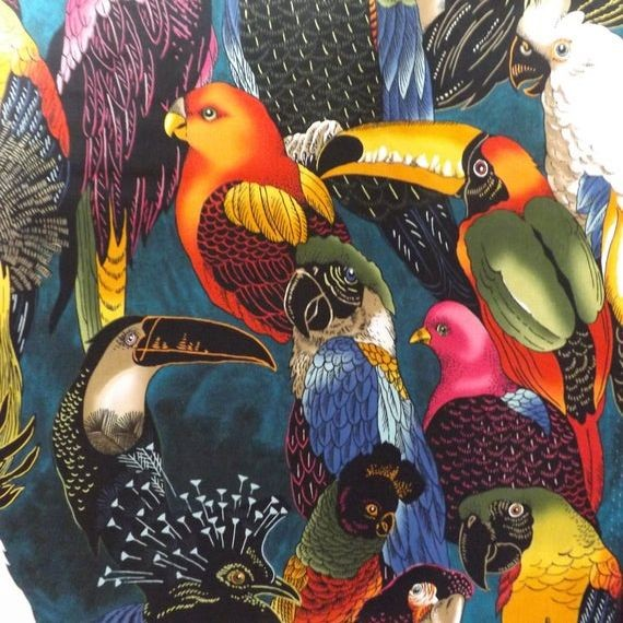 """Bomuld """"Exotic - Birds of a Feather"""" fra Alexander Henry"""