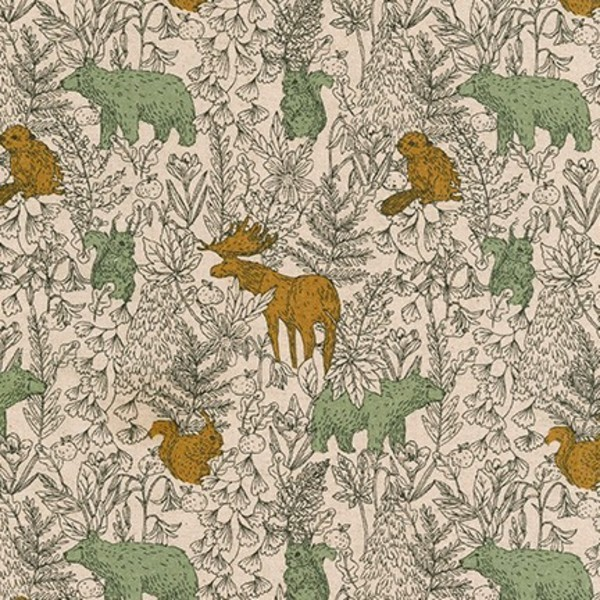 "Cotton flax prints ""Woodland Friends in Forest""..."
