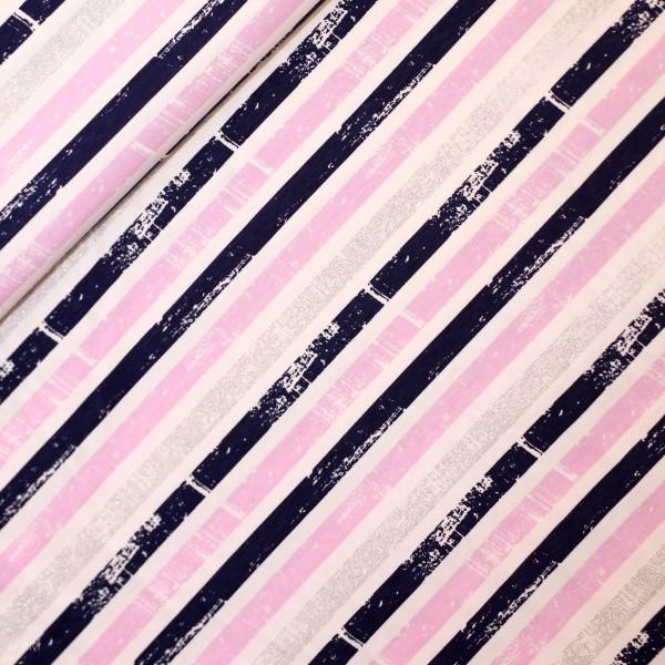 Bomuldsjersey med striber blå, lyserød og sølv