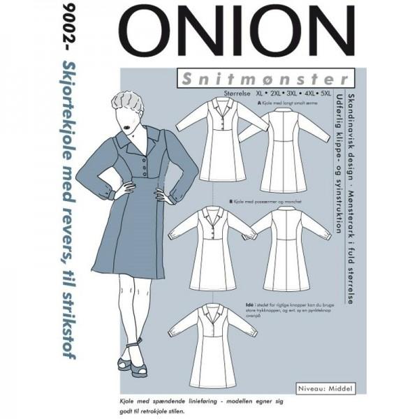 """Snitmønster Onion 9002 """"Skjortekjole med revers"""" Plus-størrelser"""" str XL - 5 XL"""