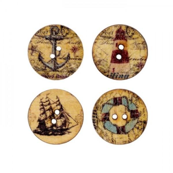 """2-hul-træ-knapper """"Maritimkollektion"""" (4 stk) Ø..."""