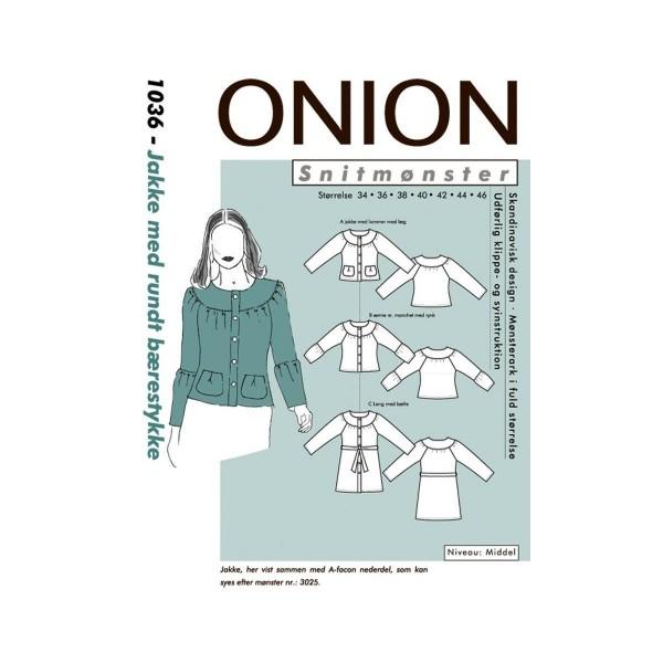 Snitmønster Onion Jakke med rundt bærestykke str 34 - 46