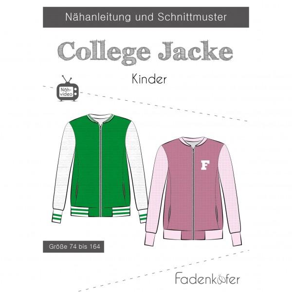 """Snitmønster Børn """"College Jacke"""" str 74 - 164"""