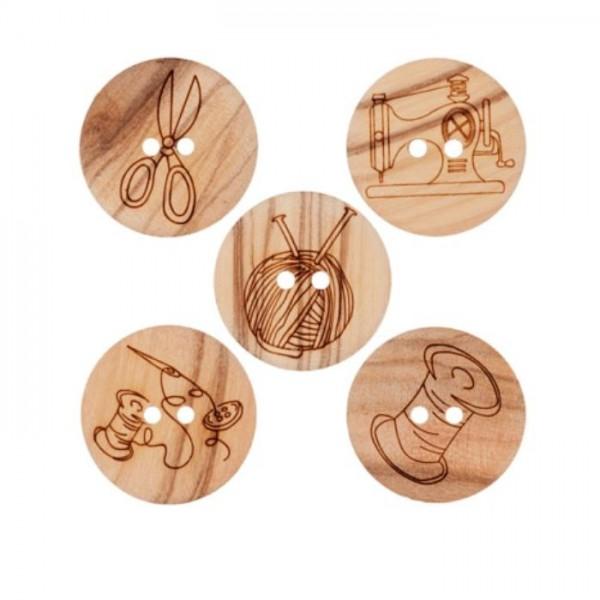 "2-hul-træ-knap kollektion ""Håndarbejde"" (20 mm)"