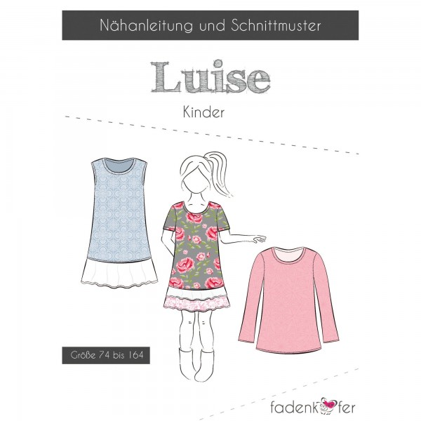 """Snitmønster Kids-Kjole """"Luise"""" str 74 - 164"""