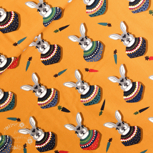 "Bomuldsjersey ""Autumn Bunny"" by Lila-Lotta, gul"