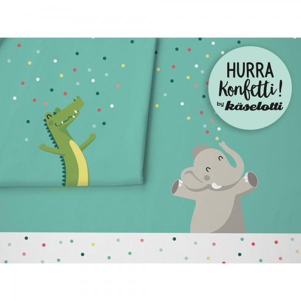 """Bomuldsjersey Panel """"Hurra Konfetti Elefant &..."""