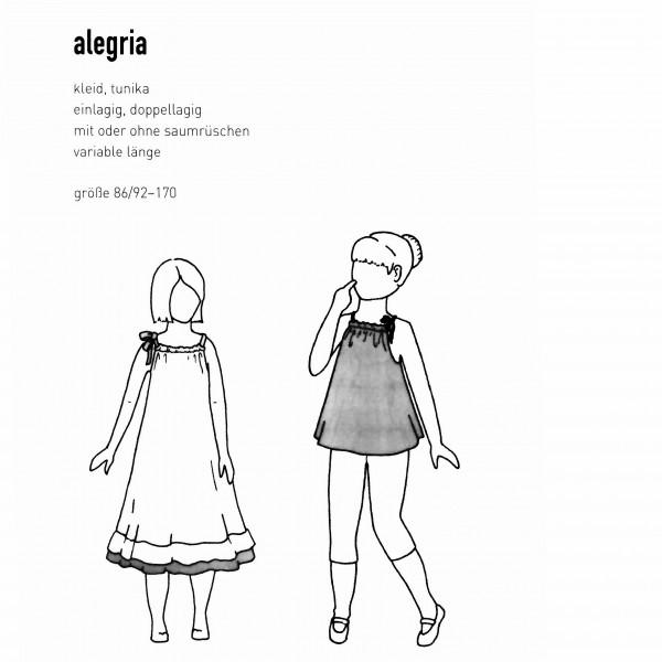 """Snitmønster Børns-Kjole """"Alegria"""" str 86/92 - 170"""