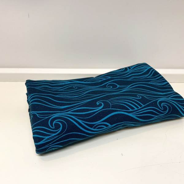 """50 cm Bomulds-Jersey """"Waves mørkeblå/mynte"""" by..."""