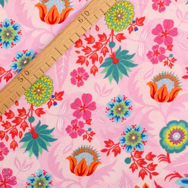 Bomuldsjersey Flora Blomster pink