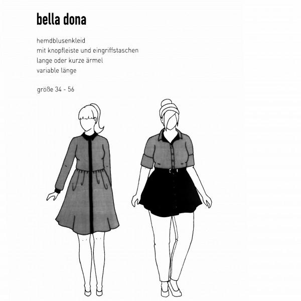 """Snitmønster Dame-Kjole """"Bella Dona"""" str 34 - 56"""